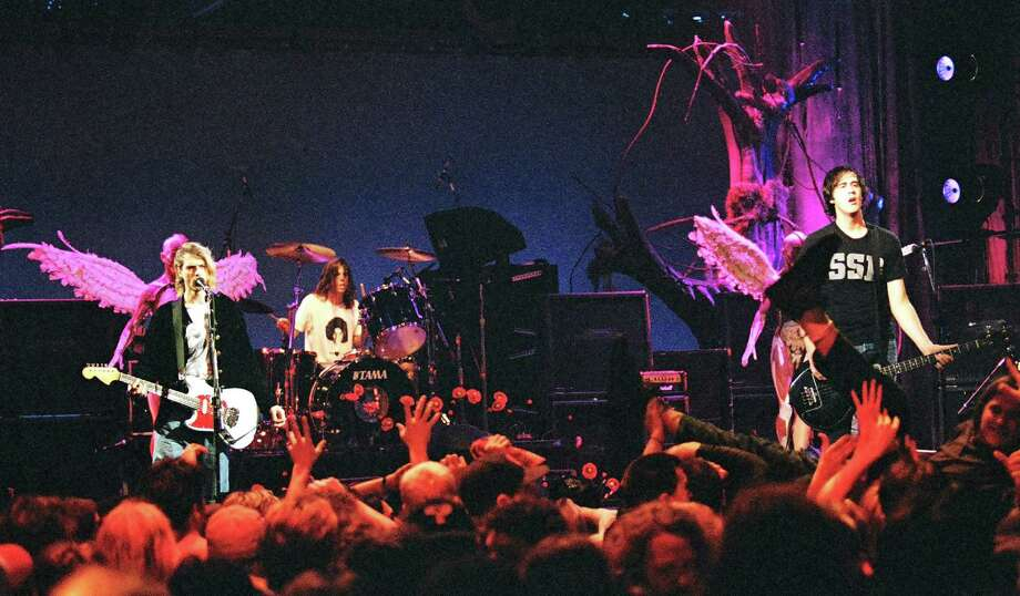Nirvana at the MTV Live and Loud-Nirvana Performs in December 1993 at Pier 28 in Seattle. Photo: Jeff Kravitz, Getty / FilmMagic, Inc
