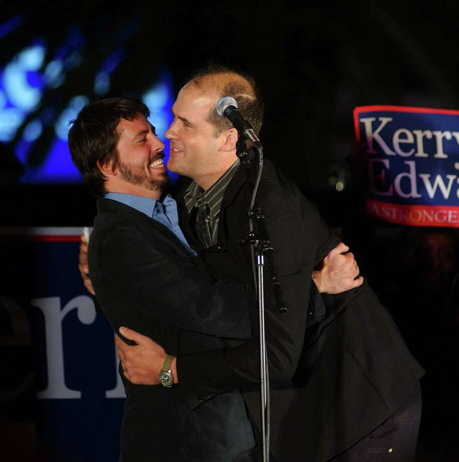 Dave Grohl and Krist Novoselic of Nirvana during Dave Grohl and Krist Novoselic supported John Kerry at an early vote rally in Las Vegas. Photo: Denise Truscello, Getty / WireImage