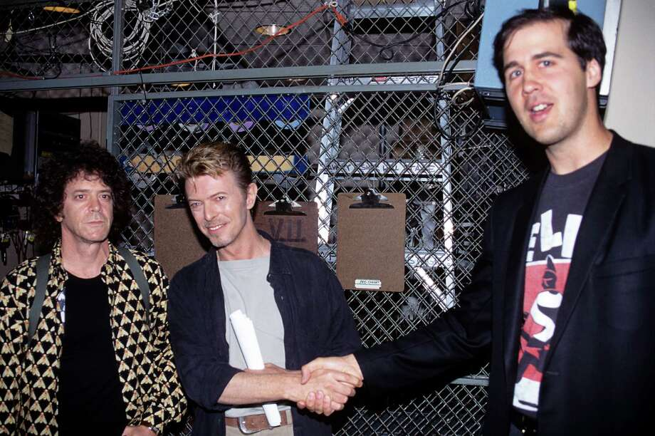 Lou Reed, David Bowie and Krist Novoselic of Nirvana at CM J backstage at Alice Tully Hall in New York City on September 8, 1995. Just because. Photo: Ebet Roberts, Getty / 1995 Ebet Roberts