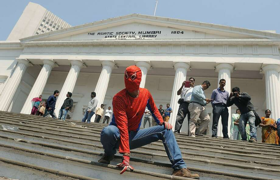 "Spidey running for office: In Mumbai, the ""Indian Spiderman"" files his nomination for one of the city's six Lok Sabha constituencies. Gaurav Sharma, a 