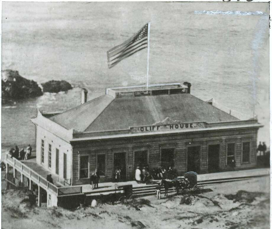 The first Cliff House was a modest structure that opened in 1863. On Christmas Day 1894, a fire destroyed the building. The place was inaccessible to those who couldn't afford a pricey toll road. Photo: The Chronicle File