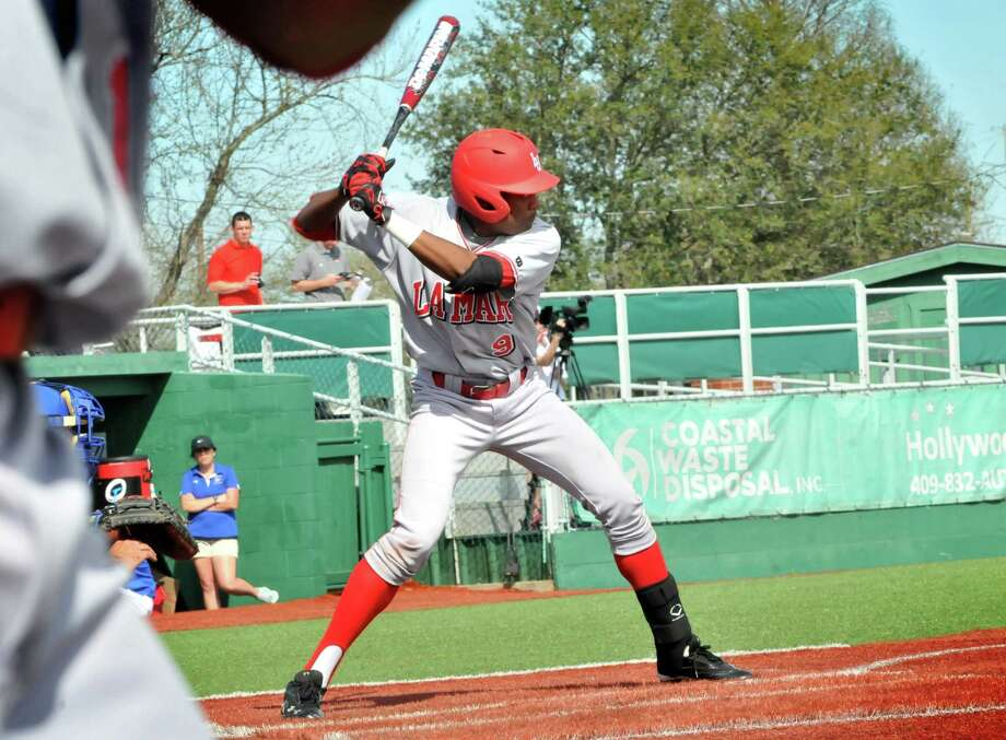 Lamar's Sam Bumpers (9) had a successful weekend for the Cardinals, setting a school record while going 7-for-7 in their first game vs. McNeese at Vincent-Beck Stadium.  Photo taken Saturday, March 29, 2014. Mike Tobias/@MikeTobiasPhoto Photo: Mike Tobias