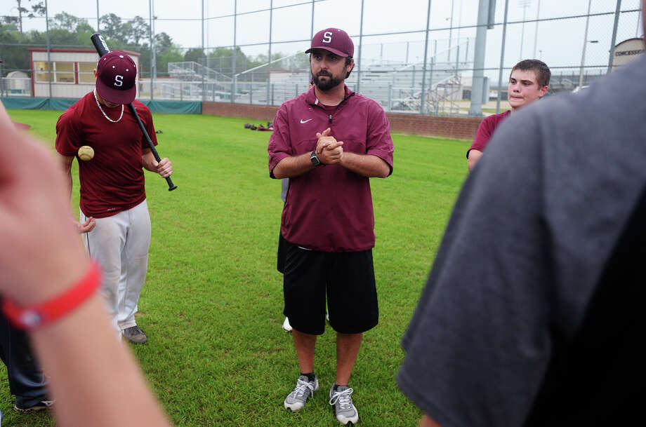 Coach Michael Nelson talks with his players after Thursday's practice. The Silsbee High School baseball team practiced Thursday afternoon. Photo taken Thursday, 4/3/14 Jake Daniels/@JakeD_in_SETX Photo: Jake Daniels / ©2014 The Beaumont Enterprise/Jake Daniels