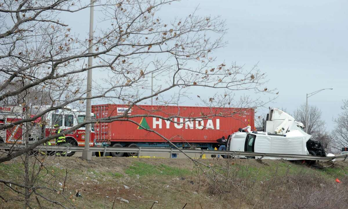 A multi-vehicle accident shut down the northbound lanes of I-95, near Exit 30, Surf Avenue in Stratford, Conn. for close to two hours Friday, April 4, 2014.