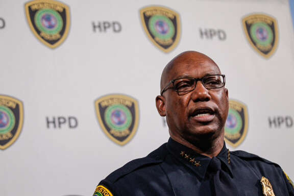 Houston Police Chief Charles A. McClelland, Jr. speaks about the results of an Internal Affairs investigation into the HPD Homicide Division's investigative procedures and processes during a news conference Friday, April 3, 2014, in Houston. ( Brett Coomer / Houston Chronicle )