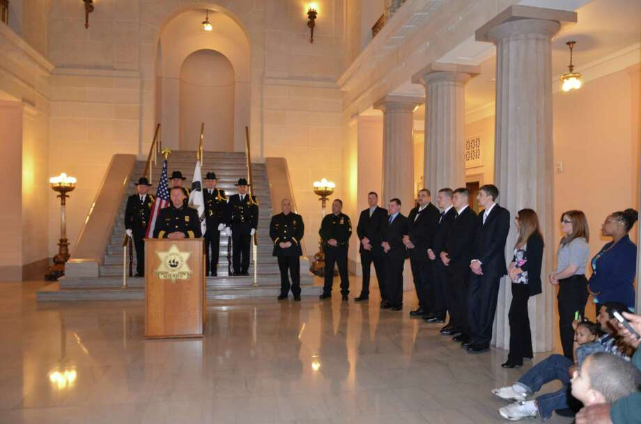 Several new promotions and hires in the Albany County Sheriff's Office were made at a ceremony Friday, April 4. (Provided photo)