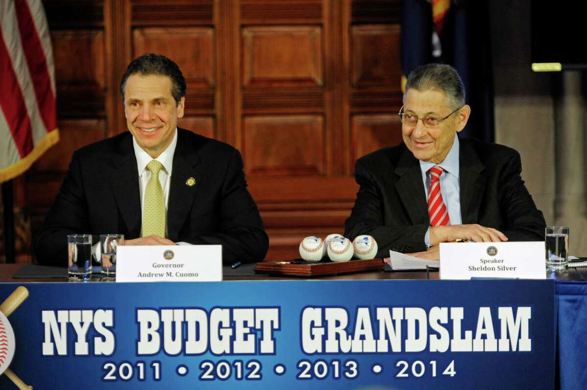 Governor Andrew Cuomo, left, and Sheldon Silver, Assembly Speaker, take part in a press conference to discuss the budget on Tuesday, April 1, 2014, in Albany, N.Y. (Paul Buckowski / Times Union)
