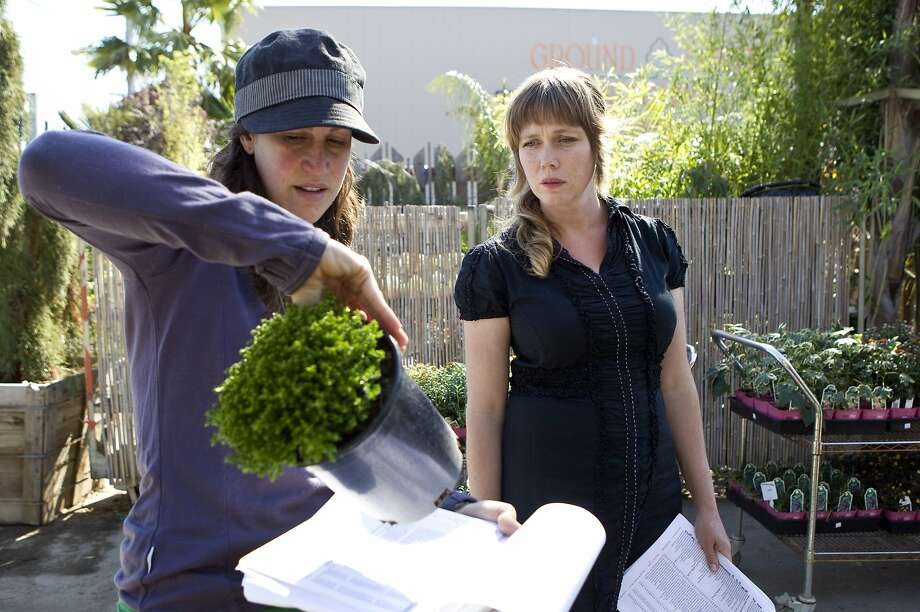 Flora Grubb (right) checks inventory with Sydney Nahay in 2010 at Flora Grubb Gardens in S.F. Photo: Laura Morton, Special To The Chronicle