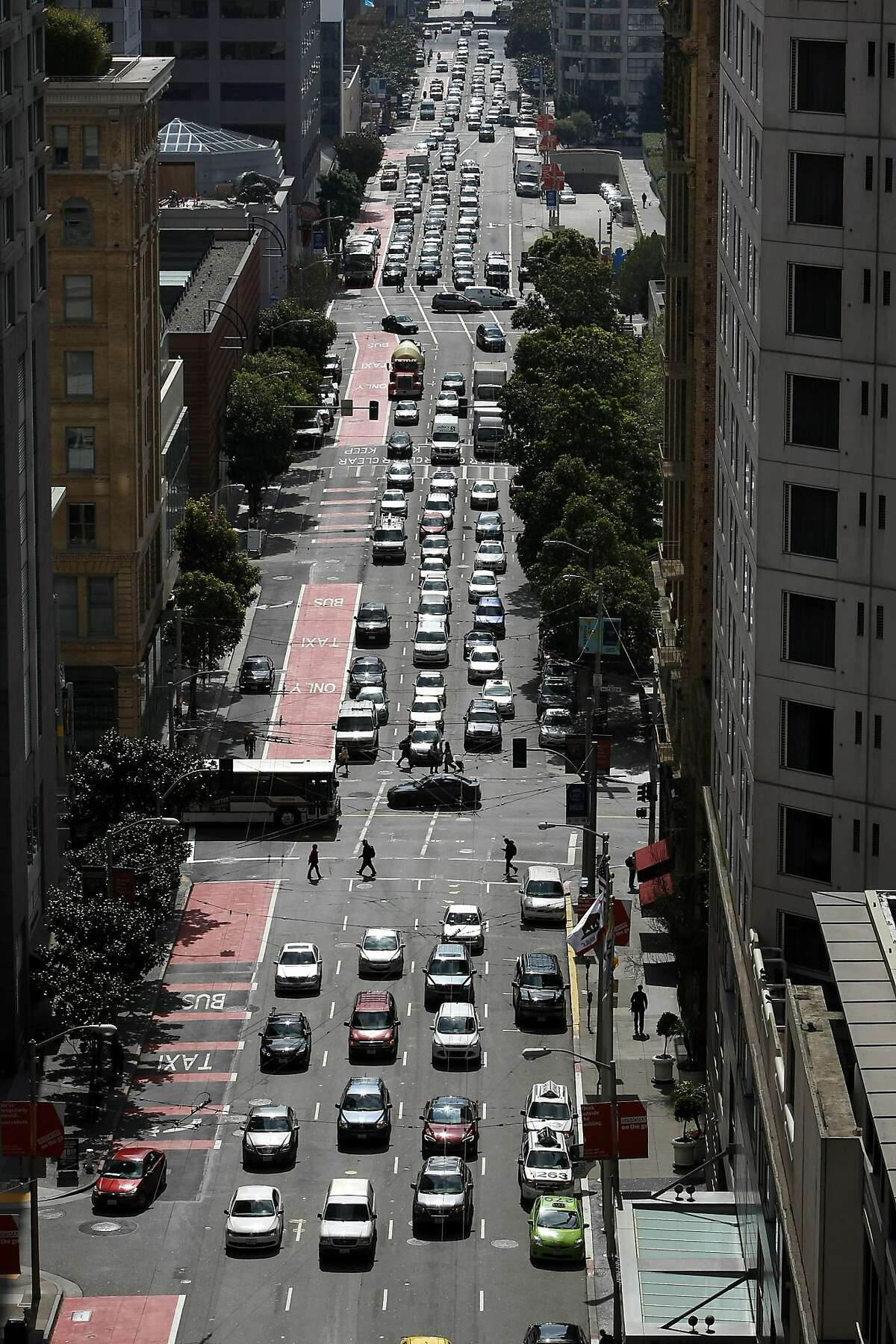 Traffic is seen backed up on 3rd St. in downtown San Francisco, CA, Thursday April 3, 2014.