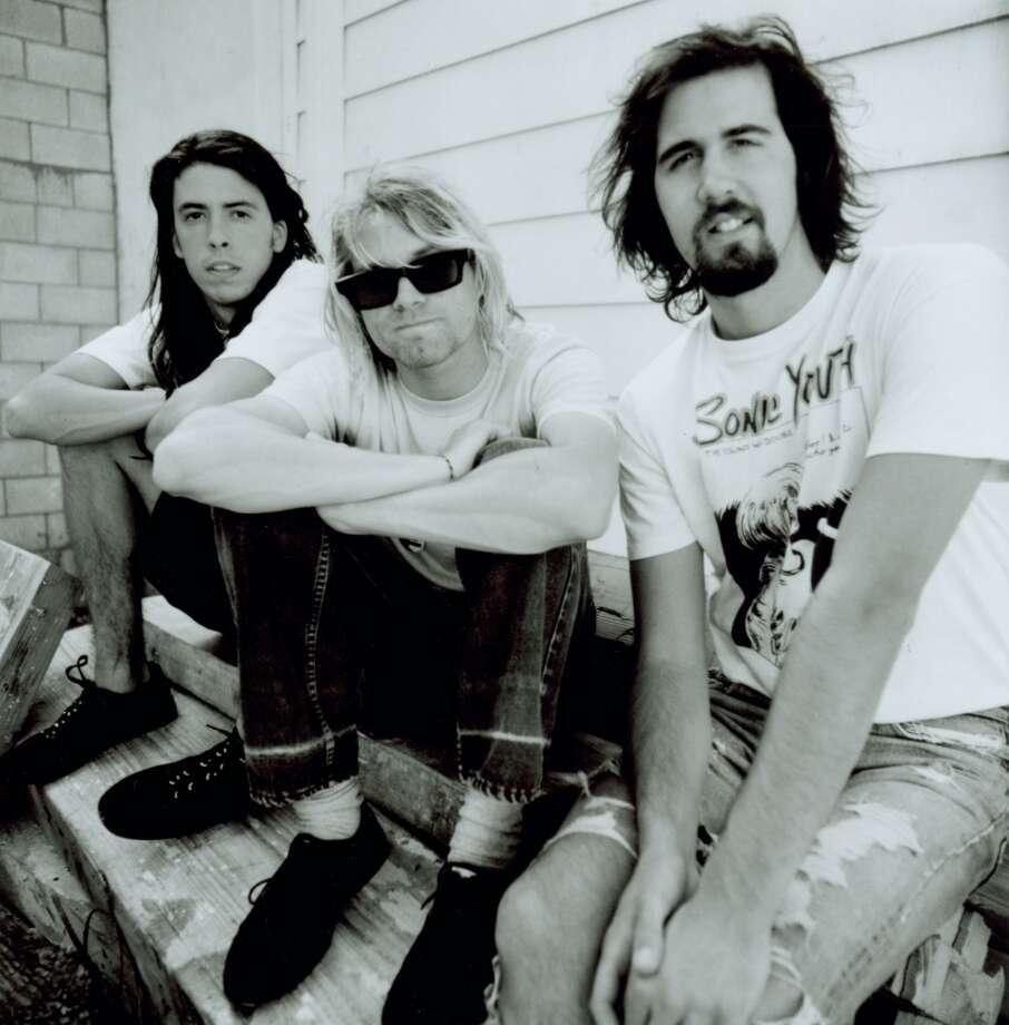 Dave Grohl, Kurt Cobain and Krist Novoselic of Nirvana. Photo: Chris Cuffaro