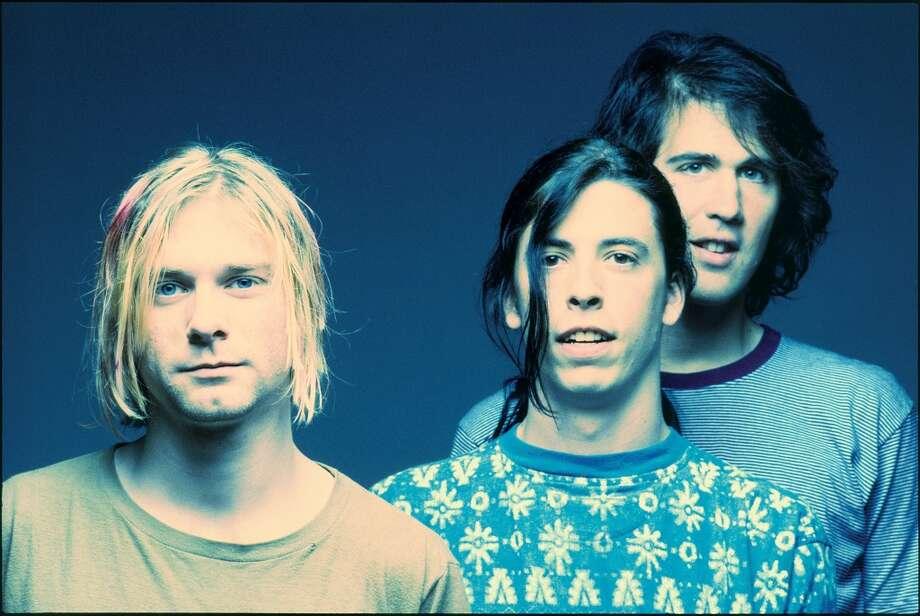Kurt Cobain, Dave Grohl and Krist Novoselic of Nirvana. Photo: Michael Lavine