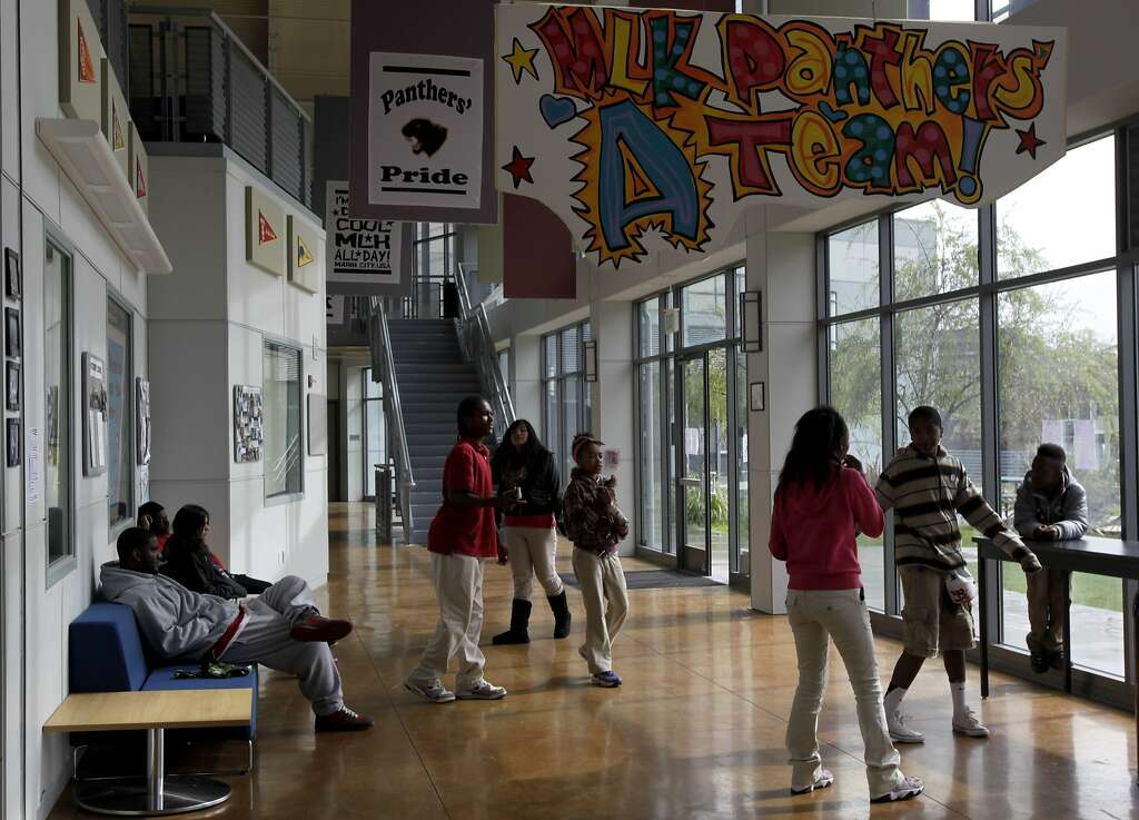 Middle School Students Mingle In The Hallway Between Classes At Bayside Martin Luther King Academy