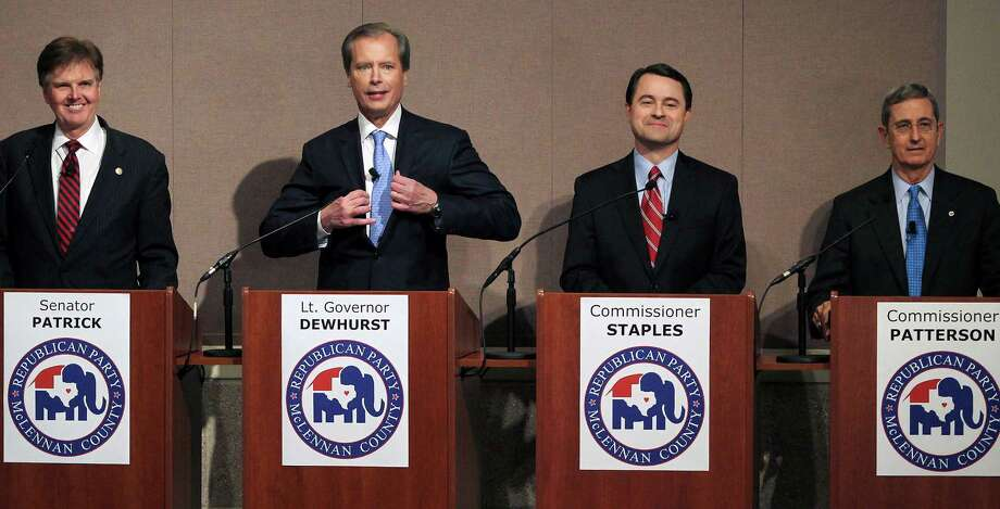GOP lieutenant governor hopefuls (from left, in December)  state Sen. Dan Patrick, Lt. Gov. David Dewhurst, Agricultural Commissioner Todd Staples and Land Commissioner Jerry Pat-terson. (Patrick and Dewhurst are in a runoff.) Will the GOP address the real issues of Texas? Photo: Jerry Larson / Waco Tribune Herald / Waco Tribune Herald