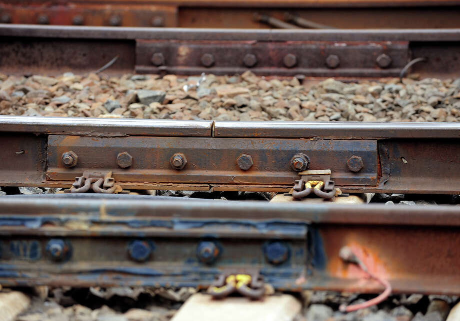 Joint bars connecting rails along the railroad tracks maintained by Metro-North Railroad in Fairfield, Conn. on April 4, 2014. Photo: Christian Abraham / Connecticut Post