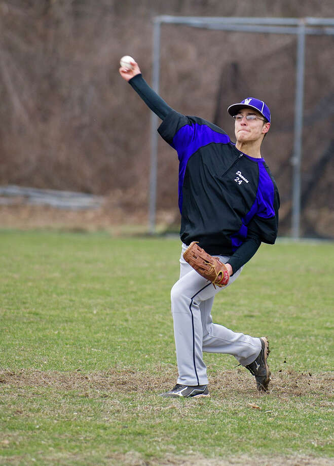 Luke Dawson practices with the Westhill baseball team at Westhill High School in Stamford, Conn., on Friday, April 4, 2014. Photo: Lindsay Perry / Stamford Advocate