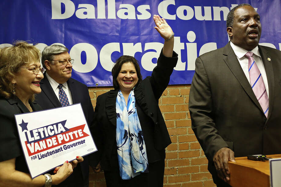State Senator Leticia Van de Putte is introduced by State Senator Royce West, right, during a campaign event at the Dallas County Democratic Headquarters in Dallas on Thursday, April 3, 2014. Photo: Lisa Krantz, SAN ANTONIO EXPRESS-NEWS / SAN ANTONIO EXPRESS-NEWS
