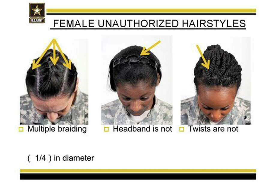 """This undated image provided by the US Army shows new Army grooming regulations for females. New Army regulations meant to help standardized and professionalize soldiers' appearance is now coming under criticism by some black military women, who say changes in the requirement for their hair are racially biased. The Army earlier this week issued new appearance standards, which included bans on most twists, dreadlocks and large cornrows, all styles used predominantly by African-American women with natural hairstyles. More than 11,000 people have signed a White House petition asking President Barack Obama, the commander-in-chief, to have the military review the regulations to allow for """"neat and maintained natural hairstyles."""" (AP Photo/US Army) Photo: HOPD / US Army"""