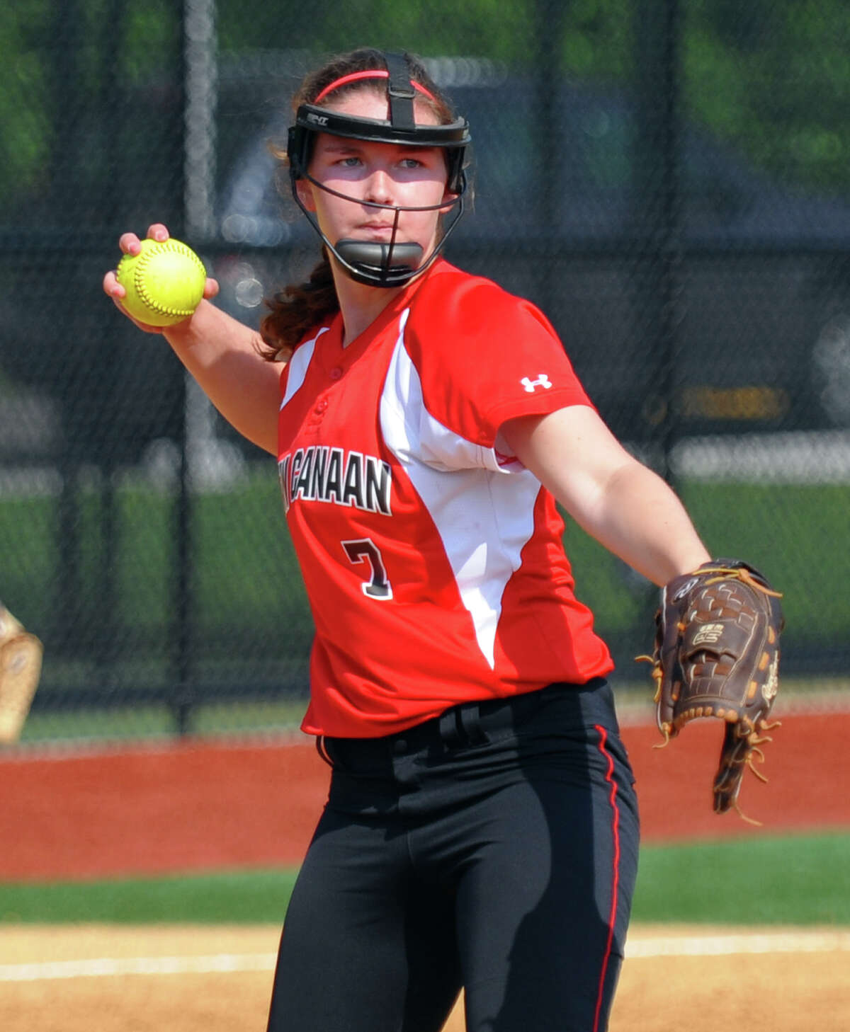 New Canaan's Ali Reilly, during FCIAC Softball Championship semi-final action against Fairfield Ludlowe at Sacred Heart University in Fairfield, Conn. on Tuesday May 21, 2013.