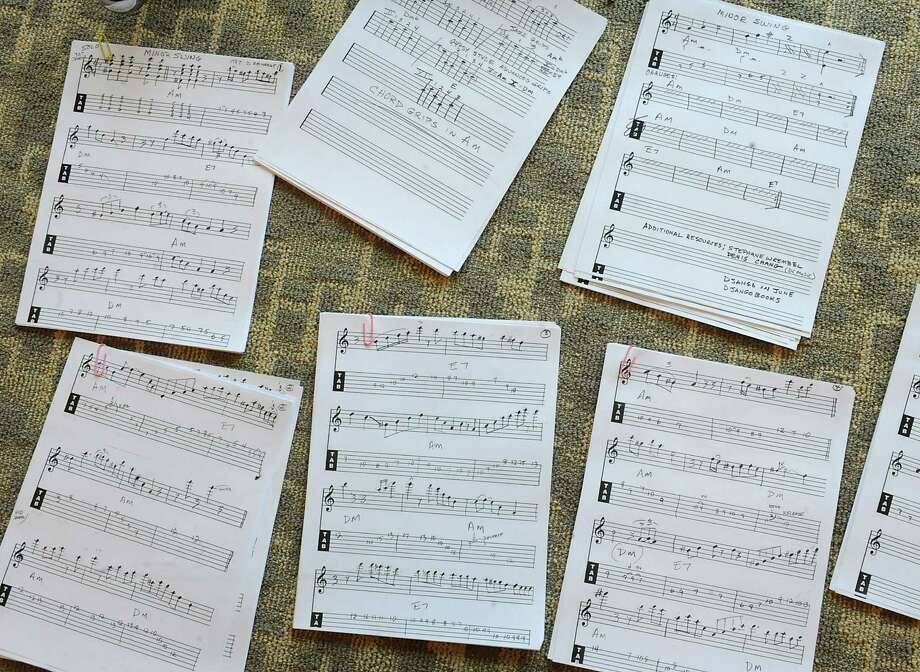 Sheets of music that Bernie Mulleda supplied for his gypsy jazz workshop during the Guitar Festival at Hudson Valley Community College on Friday, April 4, 2014 in Troy, N.Y. (Lori Van Buren / Times Union) Photo: Lori Van Buren / 00026374A