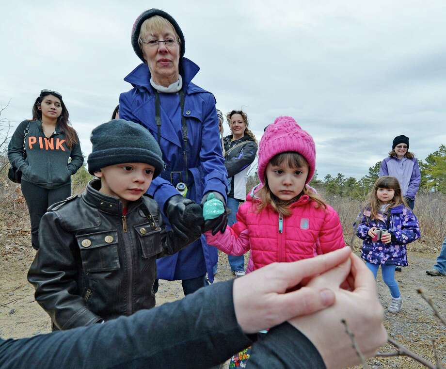 Environmental educator Amanda Dillon identifies butterfly eggs as twins Noah Ilagan, 4, left with their grandmother Laurie Ilagan and twin Emiliana Ilagan, 4,  watch during the Signs of Spring hike April 4, 2014 at the Discovery Center at the Albany Pine Bush Preserve in Albany, N.Y.   (Skip Dickstein / Times Union) Photo: Skip Dickstein / 00026375A