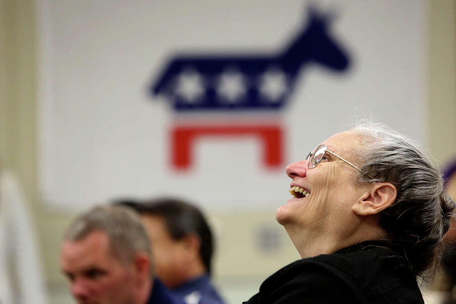 Jan Wilkerson laughs during a speech by State Senator Leticia Van de Putte during a campaign event at the Labor Temple in Lufkin on Friday, April 4, 2014. Photo: Lisa Krantz, SAN ANTONIO EXPRESS-NEWS / SAN ANTONIO EXPRESS-NEWS