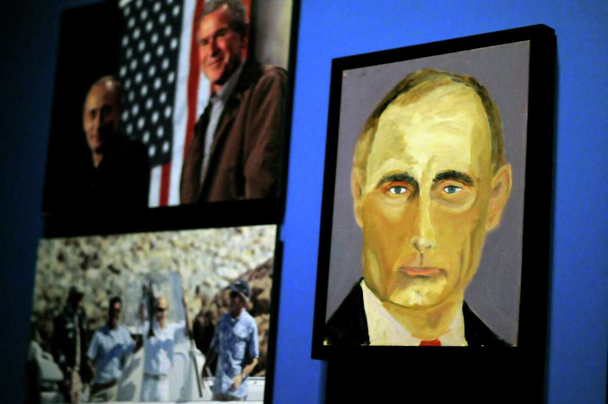 He inspires fine art Not even the brush strokes of an amateur painter could besmirch this magnificent portrait of the Kremlin leader.Source: Houston Chronicle