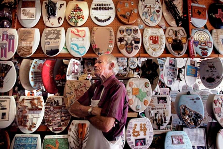 Barney Smith, 92, has made more than 1,000 custom toilet seats for his Alamo Heights garage museum. Photo: KIN MAN HUI
