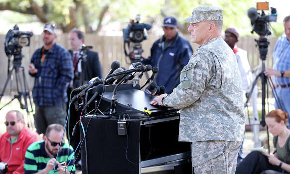 Lt. Gen. Mark Milley speaks during a press conference held Friday April 4, 2014 in Fort Hood, Texas on the shooting that occurred Wednesday.  Iraq war veteran Ivan Lopez, who opened fire Wednesday afternoon, killing three soldiers and wounding 16 before killing himself as he was confronted by a military policewoman. Photo: Edward A. Ornelas, San Antonio Express-News / ©2014 San Antonio Express-News