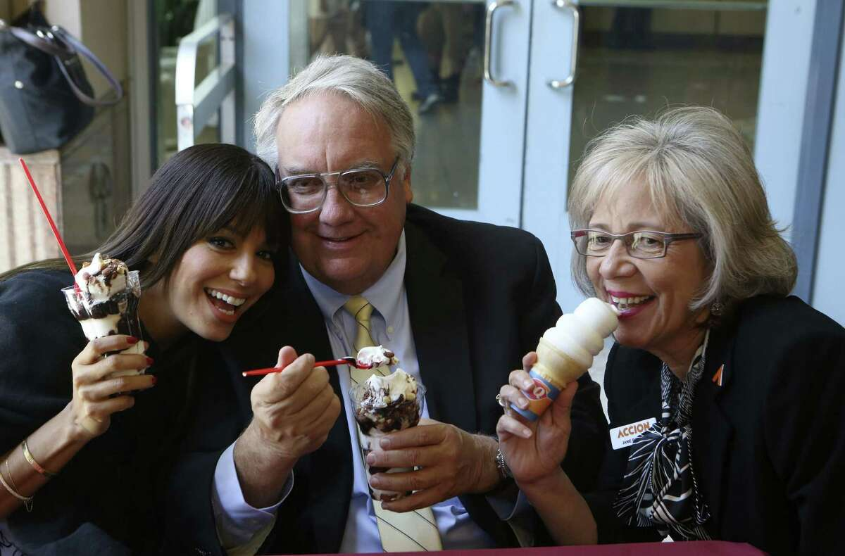 Eva Longoria, Howard Buffett and Accion Texas President CEO Janie Barrera go for ice cream at the Rivercenter Mall Dairy Queen.