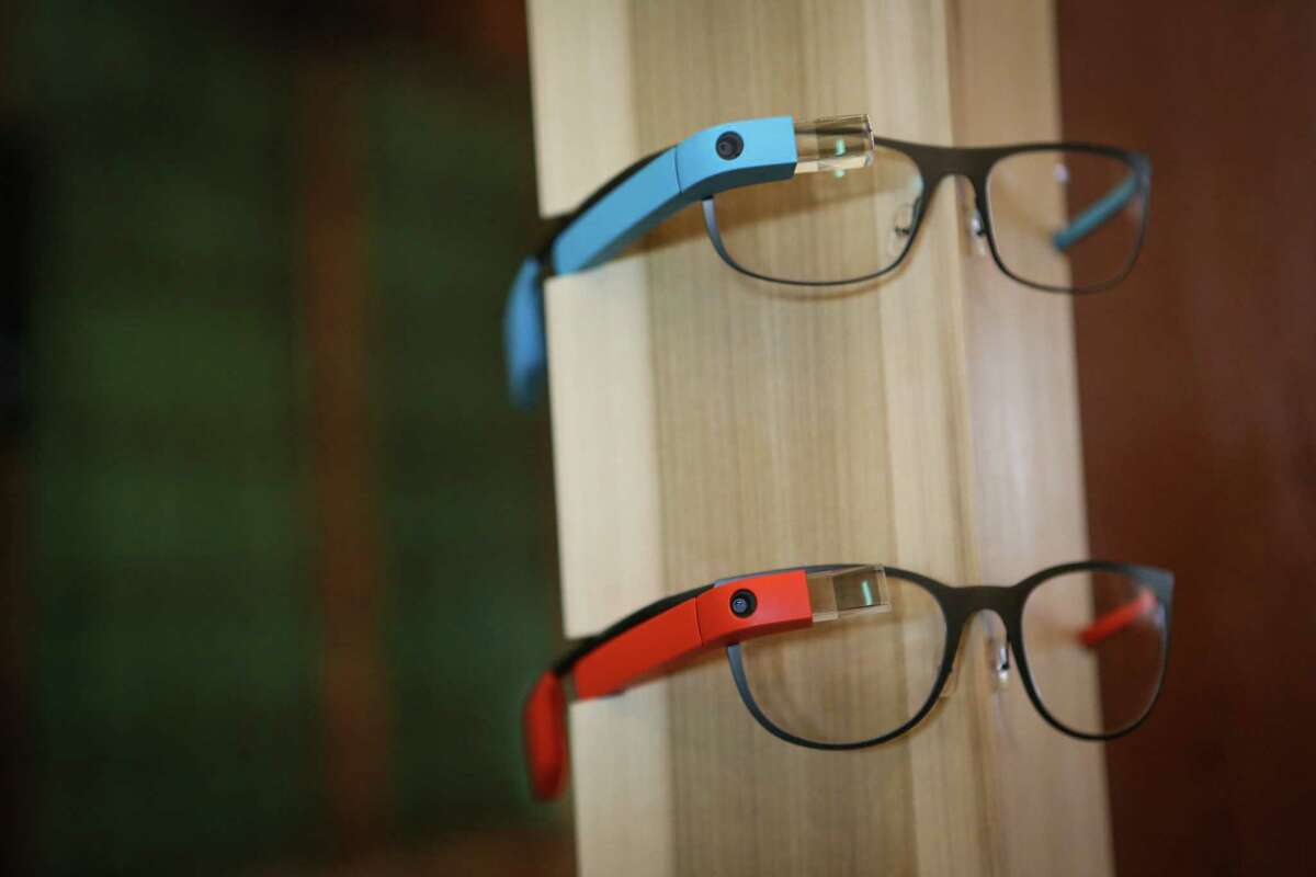 Google Glass is shown during a public preview on Friday, April 4, 2014. The Google device will be available for the public to try on April 5th and 6th.