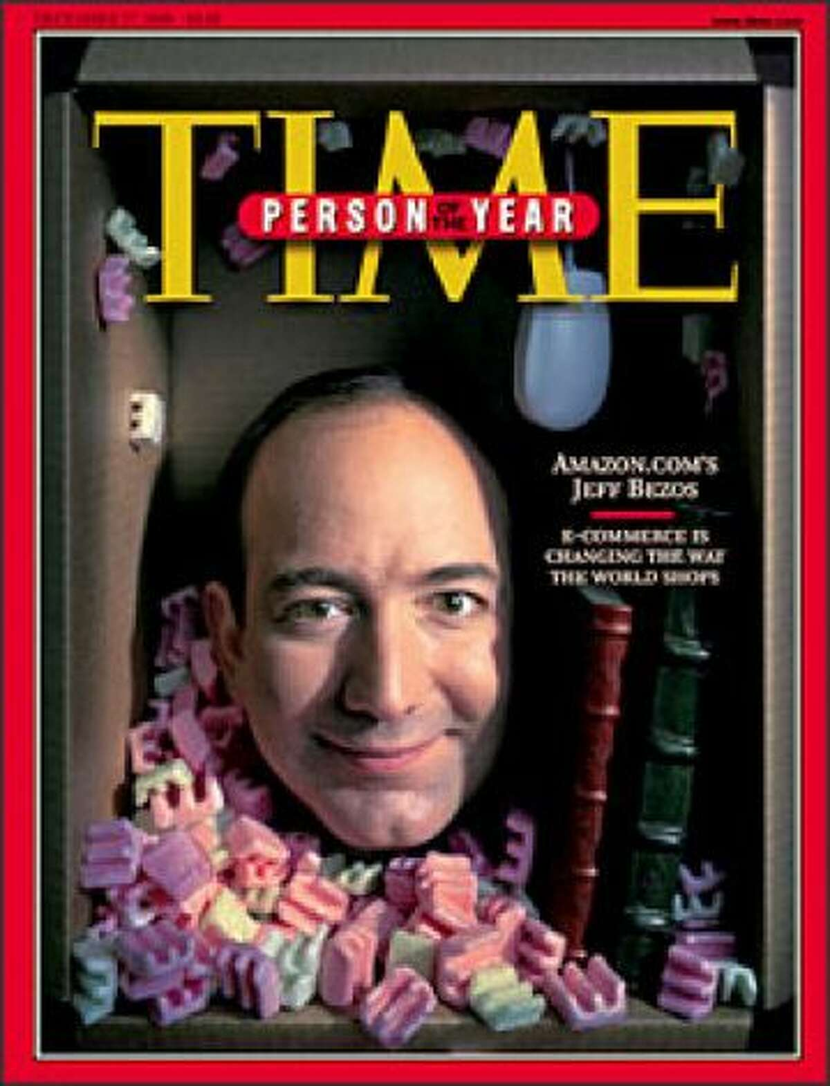 Jeff Bezos in 1999: Known as the geeky founder and CEO of Amazon.com, Inc., here on the cover of the Dec. 20, 1999, issue of Time magazine as the magazine's