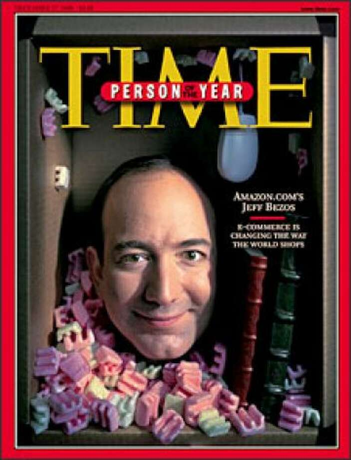 "The online company that didn't die in the tech crash? Amazon, of course. Founder and CEO Jeff Bezos was Time magazine's ""Person of the Year"" in 1999.  Photo: P-I File"