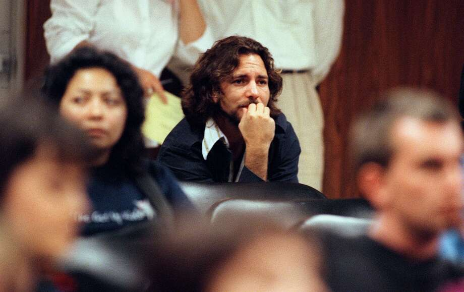 The millennium saw Eddie Vedder protesting Seattle's restrictive Teen Dance Ordinance, which virtually banned teens from seeing concerts outside of school. A more relaxed law replaced the ordinance in 2002. Pictured is Vedder looking the way most people look at Seattle City Council hearings.  Photo: GILBERT W. ARIAS, P-I File