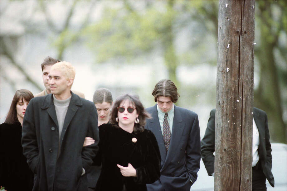 Guitarist Pat Smear,  left, attends Cobain's memorial on April 10, 1994. Smear, now with the Foo Fighters, toured with Nirvana in its last year. Photo: Copyright MOHAI, Seattle Post-Intelligencer collection, 2000.107_19940410_0154.  Photo: MOHAI