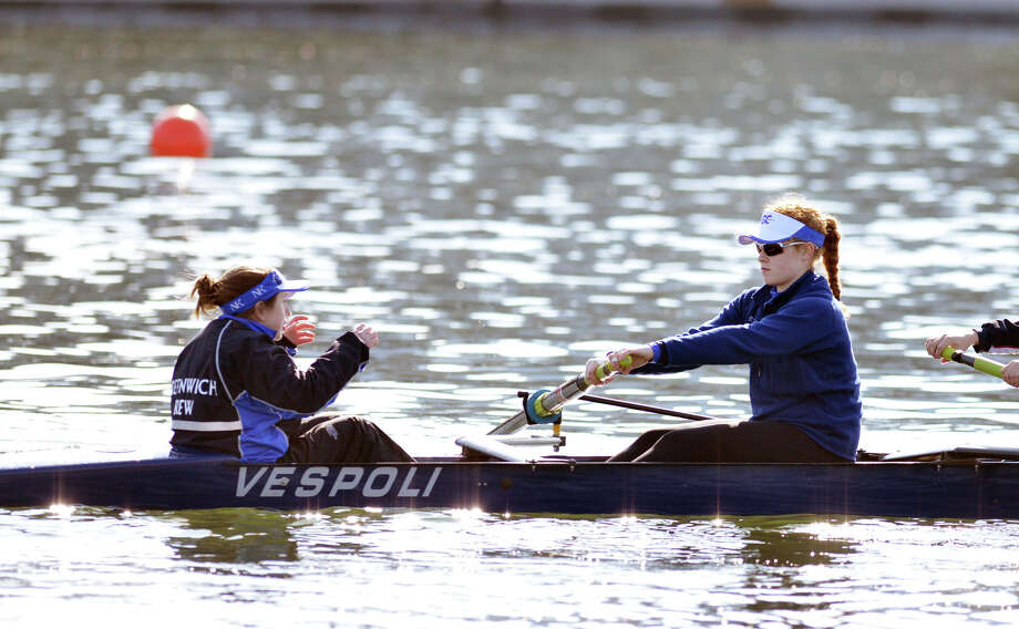 At right, Bonnie Marcus competes with her Greenwich Crew team during the 11th annual Greenwich Invitational Sprint Regatta on Greenwich Harbor, Greenwich, Conn., Saturday, April 5, 2014. Greenwich Crew hosted the event at Grass Island in Greenwich where 750 junior rowers from the tri-state area competed. Photo: Bob Luckey / Greenwich Time