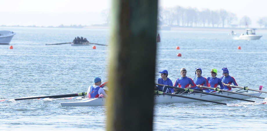 The Norwalk River Rowing Club competed in the 11th annual Greenwich Invitational Sprint Regatta on Greenwich Harbor, Greenwich, Conn., Saturday, April 5, 2014. Greenwich Crew hosted the event at Grass Island in Greenwich where 750 junior rowers from the tri-state area competed. Photo: Bob Luckey / Greenwich Time