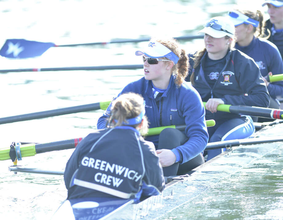 The 11th annual Greenwich Invitational Sprint Regatta on Greenwich Harbor, Greenwich, Conn., Saturday, April 5, 2014. Greenwich Crew hosted the event at Grass Island in Greenwich where 750 junior rowers from the tri-state area competed. Photo: Bob Luckey / Greenwich Time