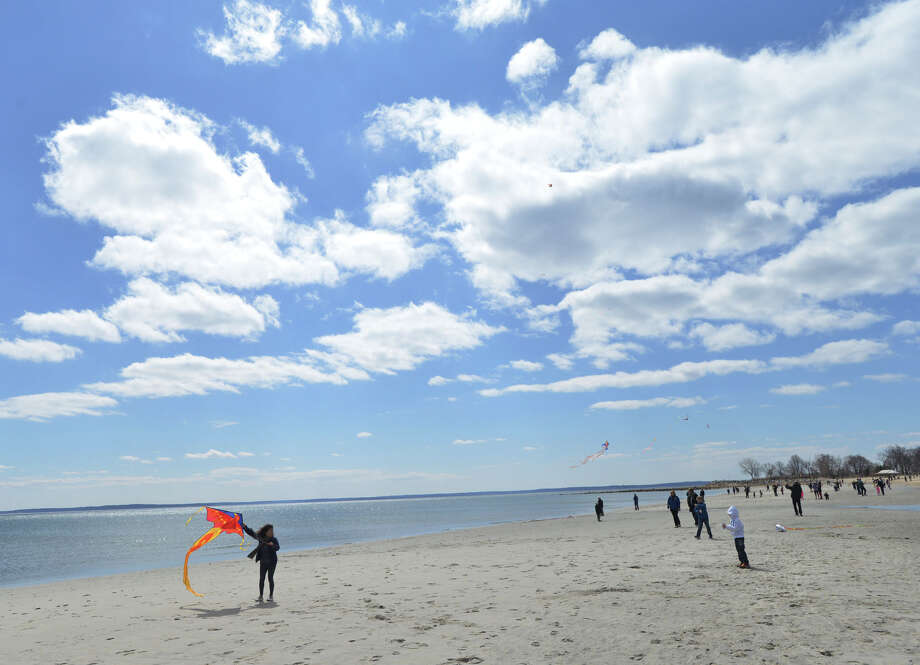 The annual Kite Flying Festival sponsored by the Greenwich Arts Council and the Town Department of Parks and Recreation at Greenwich Point, Saturday, April 5, 2014. Photo: Bob Luckey / Greenwich Time