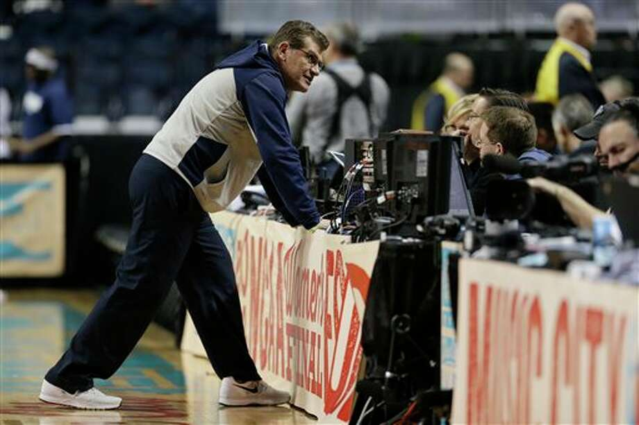 Connecticut head coach Geno Auriemma speaks during practice before the women'sFinalFour of the NCAA college basketball tournament, Saturday, April 5, 2014, in  Nashville, Tenn. Connecticut plays Stanford Sunday. (AP Photo/Mark  Humphrey)