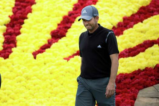 Sergio Garcia arrives to the 18th hole head down. Garcia ended second even with Cameron Tringale during the round three of the Shell Houston Open at the Golf Club of Houston, Saturday, April 5, 2014, in Humble. Photo: Marie D. De Jesus, Houston Chronicle / © 2014 Houston Chronicle