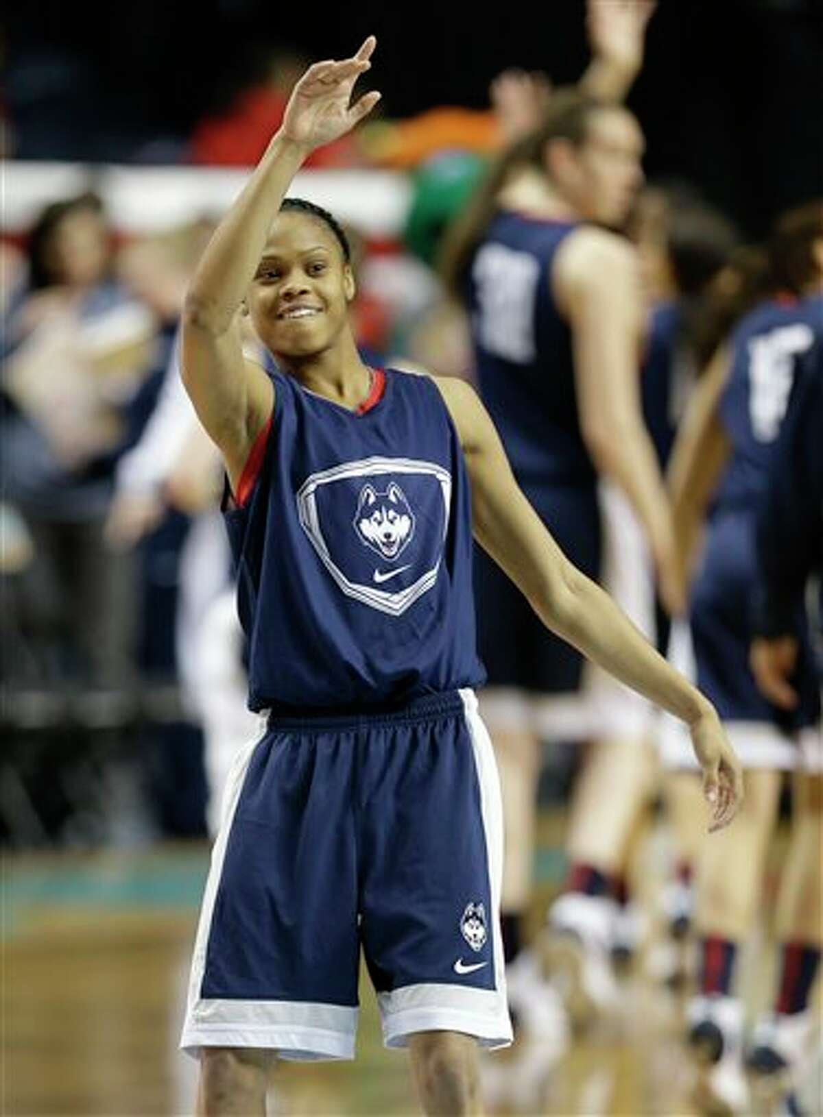 Connecticut guard Moriah Jefferson waves after practice before the women'sFinalFour of the NCAA college basketball tournament, Saturday, April 5, 2014, in Nashville, Tenn. Connecticut plays Stanford Sunday. (AP Photo/Mark Humphrey)
