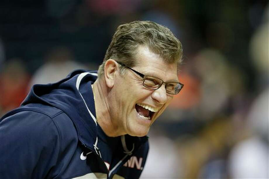 Connecticut head coach Geno Auriemma laughs during practice before the women's Final Four of the NCAA college basketball tournament, Saturday, April 5, 2014, in  Nashville, Tenn. Connecticut plays Stanford Sunday. (AP Photo/Mark  Humphrey)