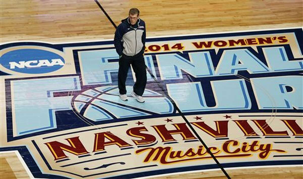 Connecticut head coach Geno Auriemma walks on the floor during practice before the women'sFinalFour of the NCAA college basketball tournament, Saturday, April 5, 2014, in Nashville, Tenn. Connecticut plays Stanford Sunday. (AP Photo/John Bazemore)