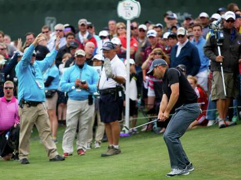 Sergio Garcia swings his third shot from the rough of the 18th hole during the round three of the Shell Houston Open at the Golf Club of Houston, Saturday, April 5, 2014, in Humble. Photo: Marie D. De Jesus, Houston Chronicle / © 2014 Houston Chronicle