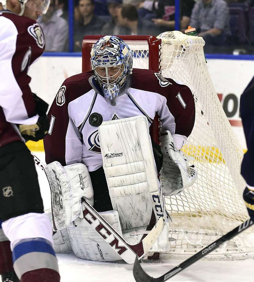 Avalanche goalie Semyon Varlamov can swell his chest with pride after picking up his 40th win. Photo: Scott Rovak, Reuters