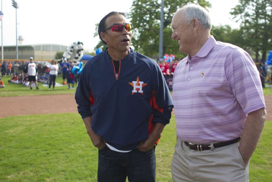 Nolan Ryan and former Astro Jose Cruz share a laugh on the newly revitalized youth baseball fields at Denver Harbor Park. Photo: Johnny Hanson, Houston Chronicle