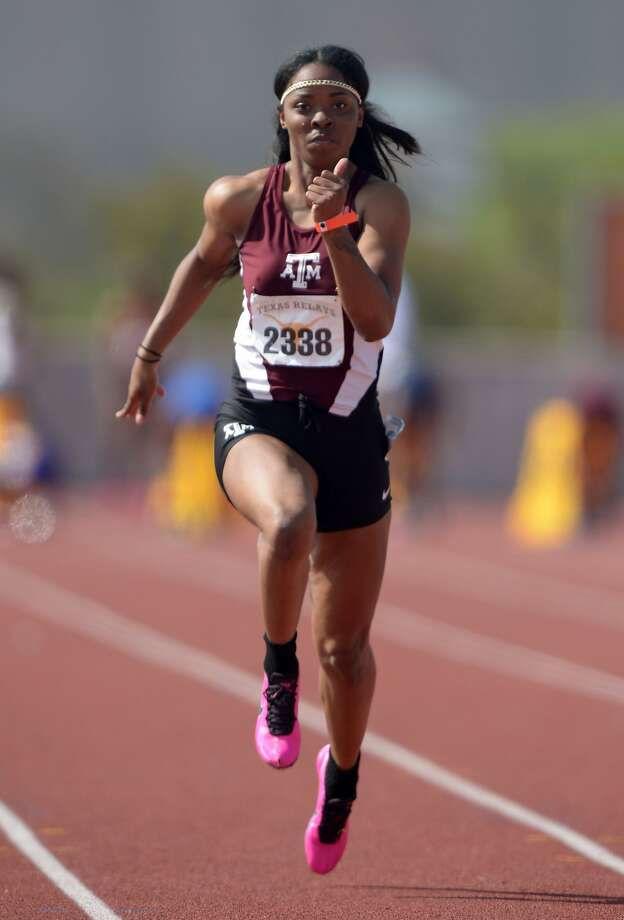 Ashton Purvis, running the 100 meters in Austin, Texas, in late March, has had several college stops. Photo: Kirby Lee, Reuters