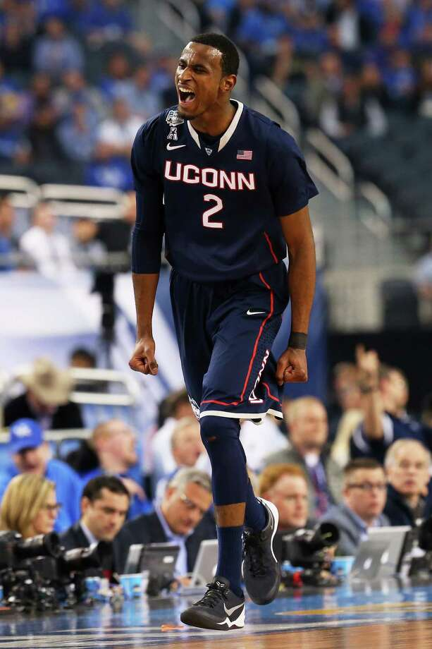 ARLINGTON, TX - APRIL 05:  DeAndre Daniels #2 of the Connecticut Huskies reacts after hitting a shot against the Florida Gators during the NCAA Men's Final Four Semifinal at AT&T Stadium on April 5, 2014 in Arlington, Texas. Photo: Ronald Martinez, Getty Images / Getty Images