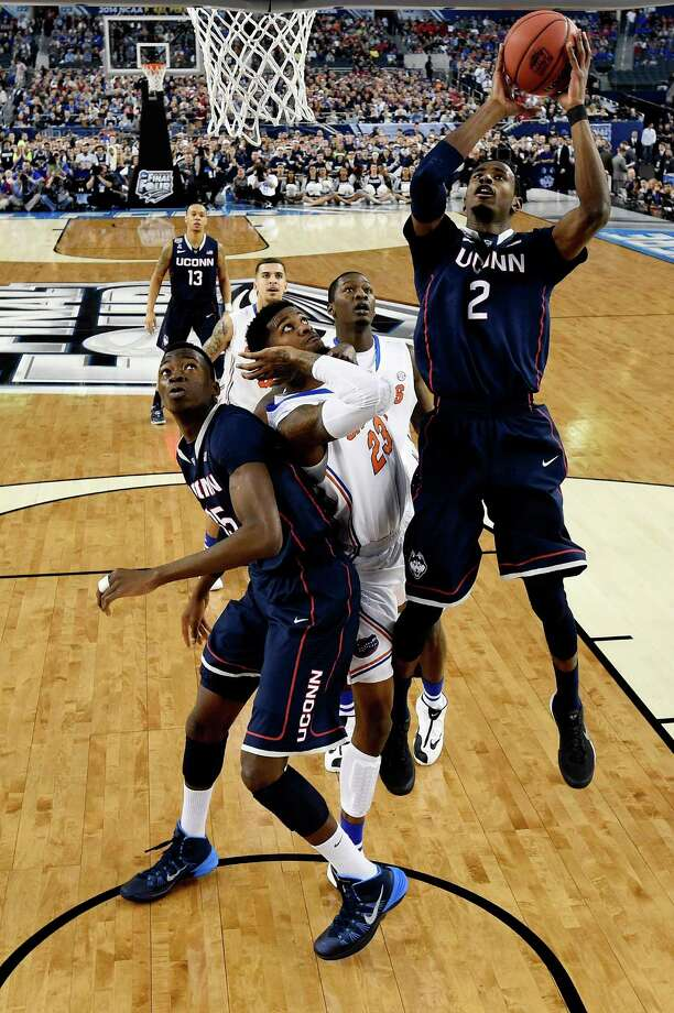 ARLINGTON, TX - APRIL 05: DeAndre Daniels #2 of the Connecticut Huskies goes up for a shot against the Florida Gators during the NCAA Men's Final Four Semifinal at AT&T Stadium on April 5, 2014 in Arlington, Texas. Photo: Pool, Getty Images / Getty Images