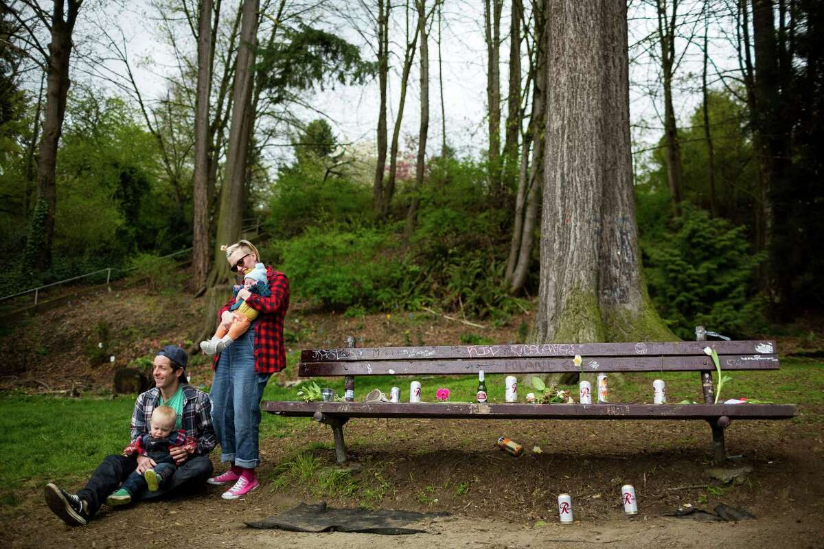With the whole family decked out in plaid shirts and Converse All Star shoes, mother Natalie Sullivan, holding daughter Frieda, and father Tyler Sullivan, holding son Varga, paid homage to the late rock icon of Nirvana's lead singer, Kurt Cobain, near the home where Cobain died on the 20th anniversary of his death Saturday, April 5, 2014, at Viretta Park in Seattle. On April 10, Nirvana will be inducted into the Rock and Roll Hall of Fame.